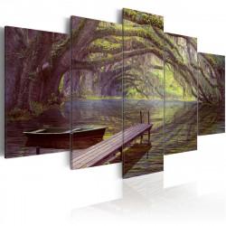 Obraz - Krajinomalba, jezero a stromy