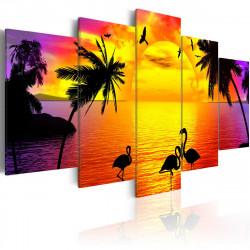 Obraz  Sunset and Flamingos