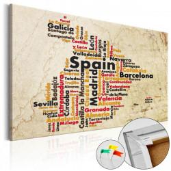 Obraz na korku - Spanish Cities (ES) [Cork Map]