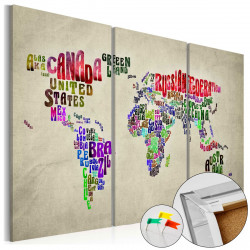 Obraz na korku - Colorful Countries [Cork Map]