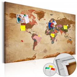 Obraz na korku - World Map: Brown Elegance [Cork Map]