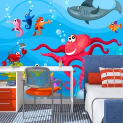 Fototapeta - Chobotnice a žralok
