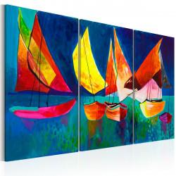 Ručně malovaný obraz  Barevné plachetnice