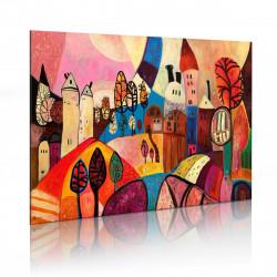 Ručně malovaný obraz  Vesnice v podzimních barvech
