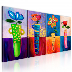 Ručně malovaný obraz  Duhové květy