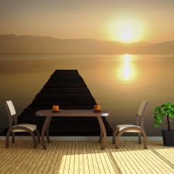 Fototapeta  molo, jezero, západ slunce...