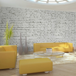 Fototapeta  Wall made from white raw brick