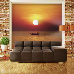 Fototapeta  Sunset with fishing boat