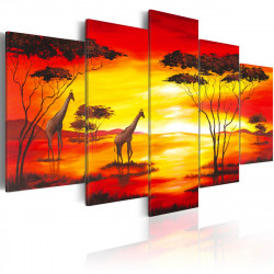 Obraz  Giraffes on the background with sunset
