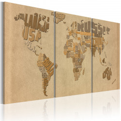 Obraz  The world map in beige and brown